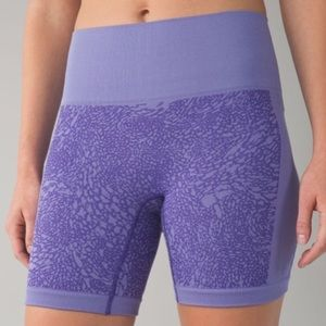Lululemon Sculpt Iris Flower Biker Purple Shorts